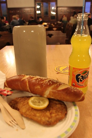 schnitzel and roll